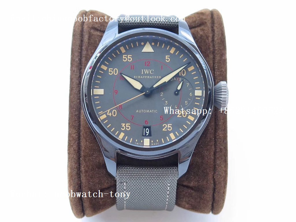 Replica IWC Big Pilot Real Power Reserve 48mm IW501902 Real Ceramic ZF 1:1 Best Edition on Green Nylon Strap A51111 V2