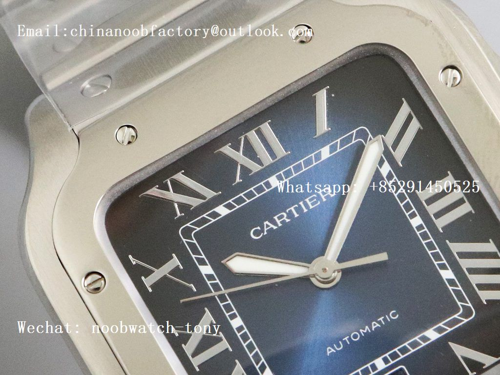 Replica Cartier Santos de Cartier 40mm 2018 GF 1:1 Best Edition Blue Dial on SS SmartLinks Bracelet MIYOTA 9015 (Free Leather)