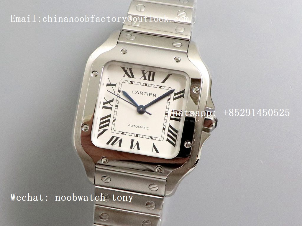 Replica Cartier Santos de Cartier 35mm 2018 GF 1:1 Best Edition White Dial SmartLinks Bracelet MIYOTA 9015 (Free Leather)