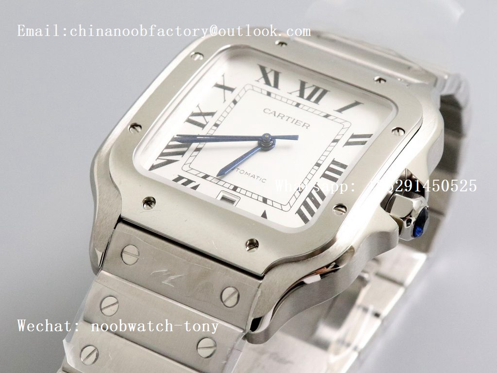 Replica Cartier Santos de Cartier 40mm 2018 GF 1:1 Best Edition White Dial on SS SmartLinks Bracelet MIYOTA 9015 (Free Leather)