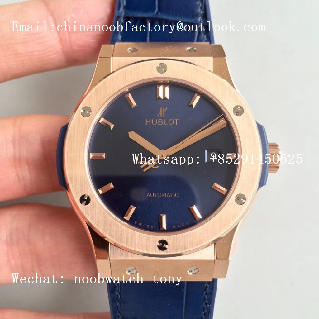 Replica Hublot Classic Fusion 42mm Rose Gold JJF 1:1 Best Edition Blue Dial on Blue Gummy Strap A2892
