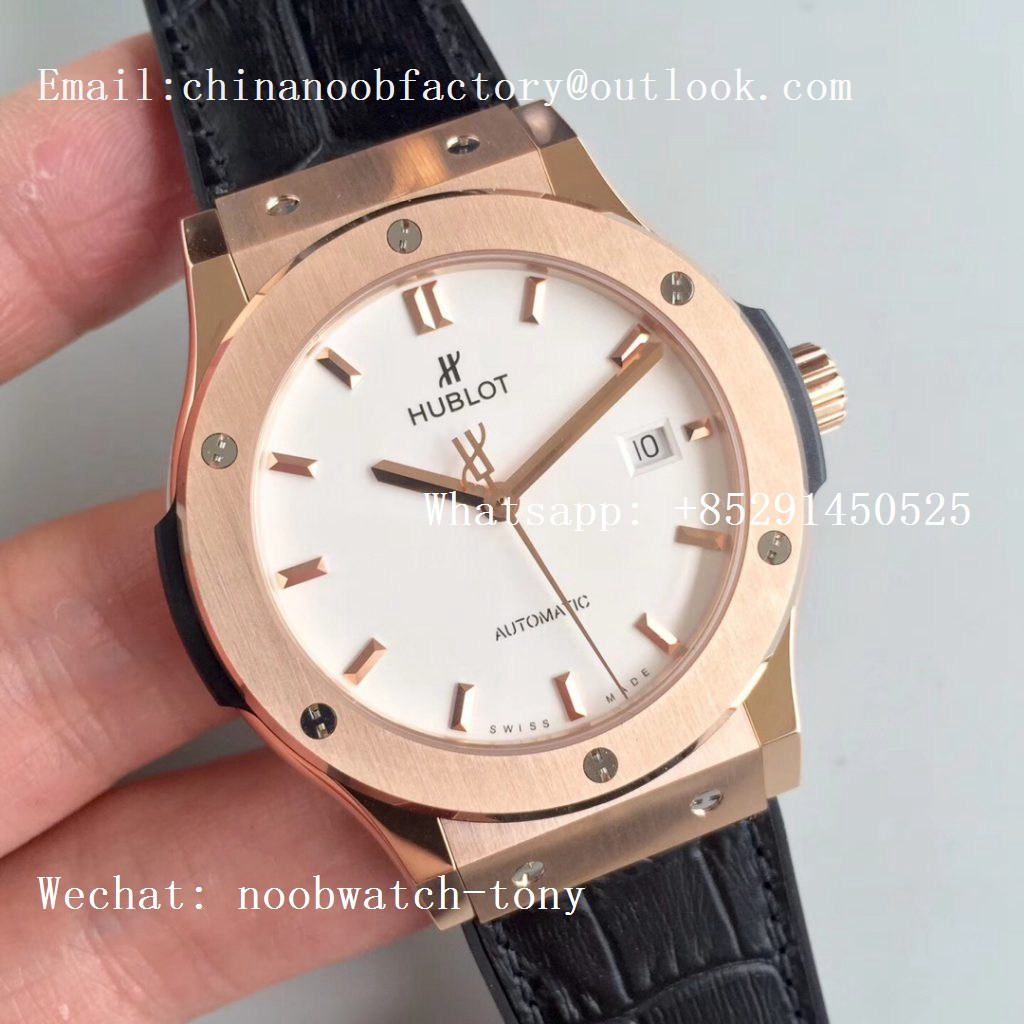 Replica Hublot Classic Fusion 42mm Rose Gold JJF 1:1 Best Edition White Dial on Black Gummy Strap A2892