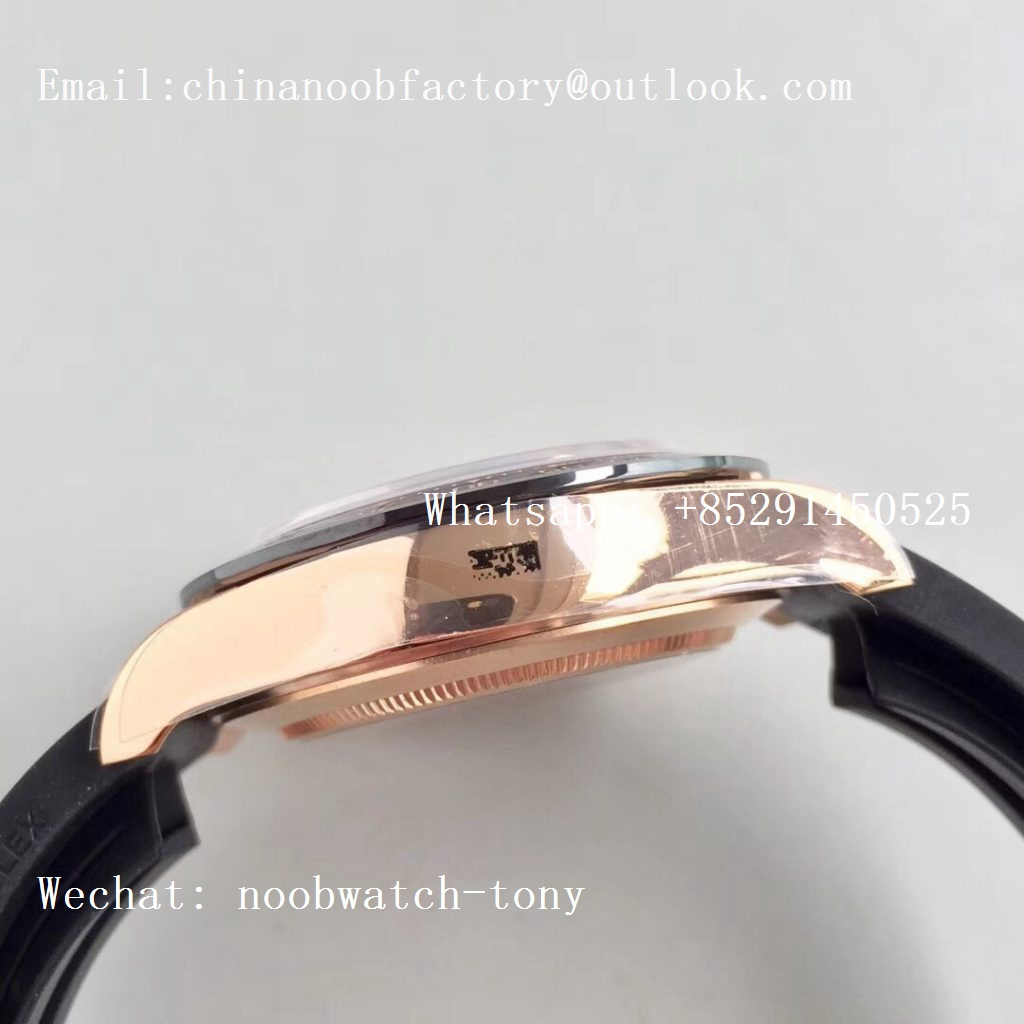 Replica Rolex Daytona 116515 Rose Gold Noob 1:1 Best Edition Chocolate Dial on Rubber Strap SA4130