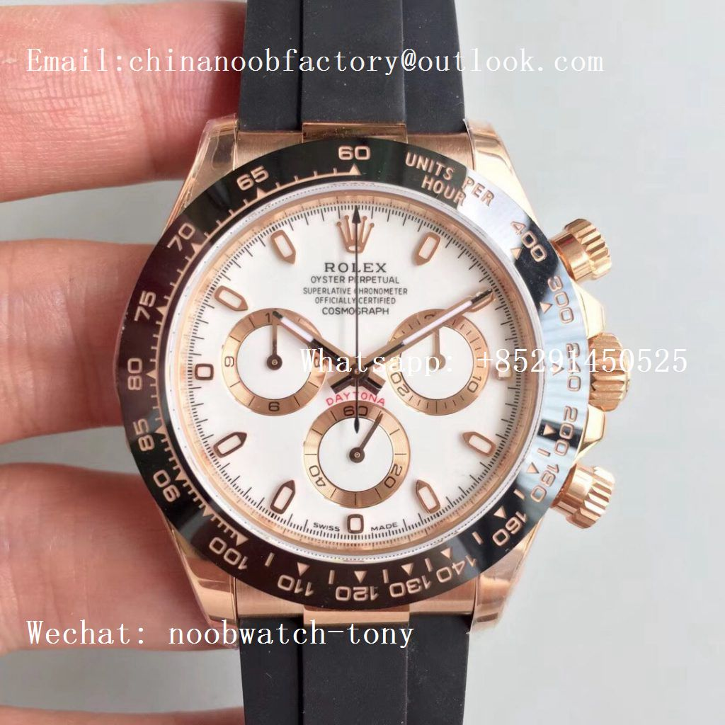 Replica Rolex Daytona 116515 Rose Gold Noob 1:1 Best Edition White Dial on Rubber Strap SA4130 (Free Extra Strap)