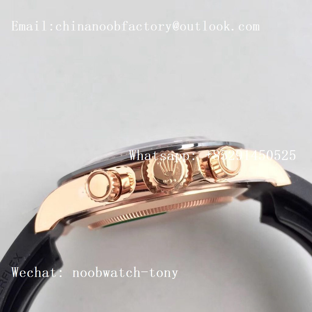 Replica Rolex Daytona 116515 Rose Gold Noob 1:1 Best Edition Rose Gold Dial on Rubber Strap SA4130