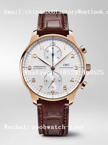 Replica IWC Portuguese Chrono IW371446 Rose Gold SS ZF 1:1 Best Edition A7750 (Same Thickness as Genuine)