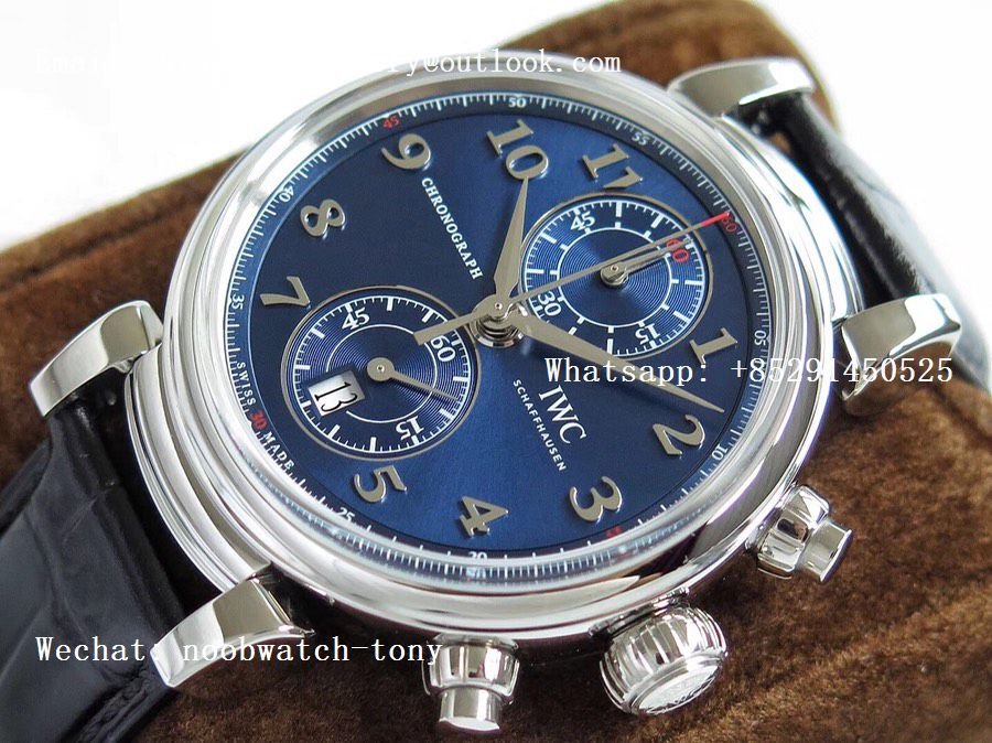 Replica IWC Da Vinci Chrono Laureus IW393402 SS ZF 1:1 Best Edition Blue Dial SS on Black Leather Strap A7750