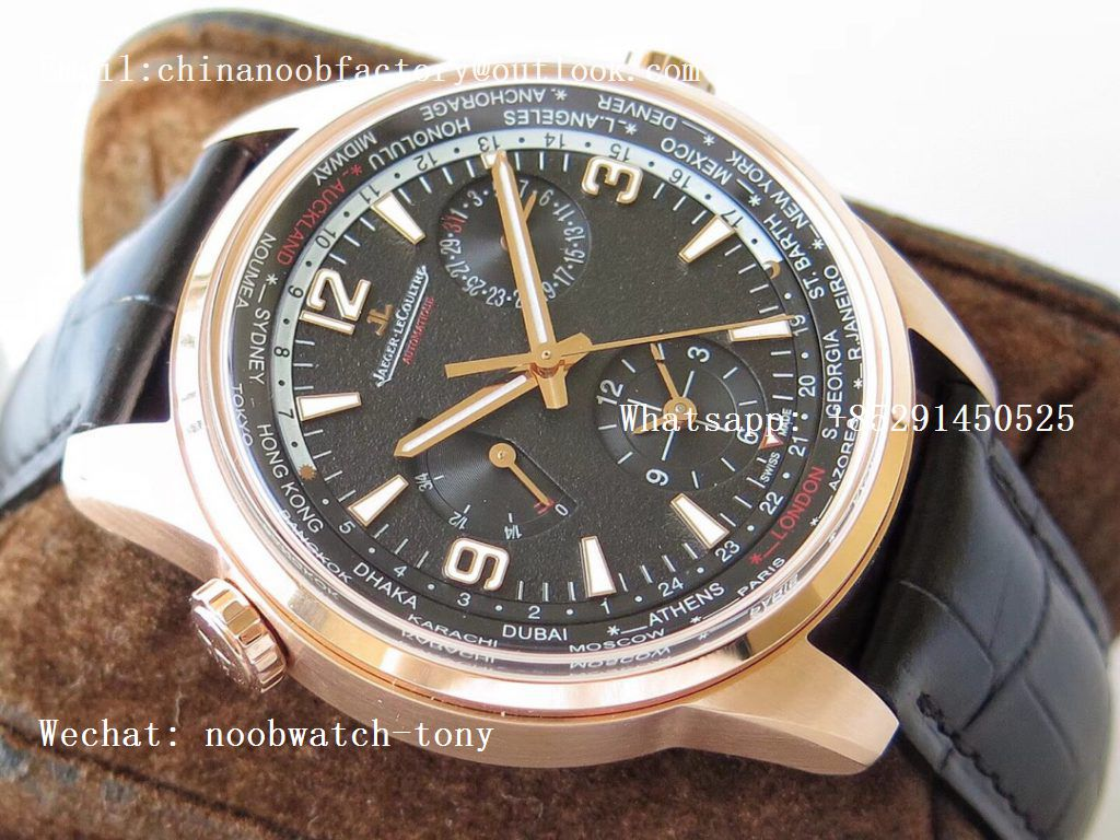 Replica Jaeger Lecoultre JLC Polaris Geographic TWA Rose Gold Black Textured Dial on Black Leather Strap A936