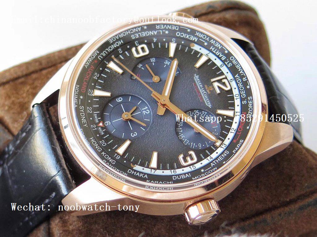 Replica Jaeger Lecoultre JLC Polaris Geographic TWA Rose Gold Blue Textured Dial on Black Leather Strap A936