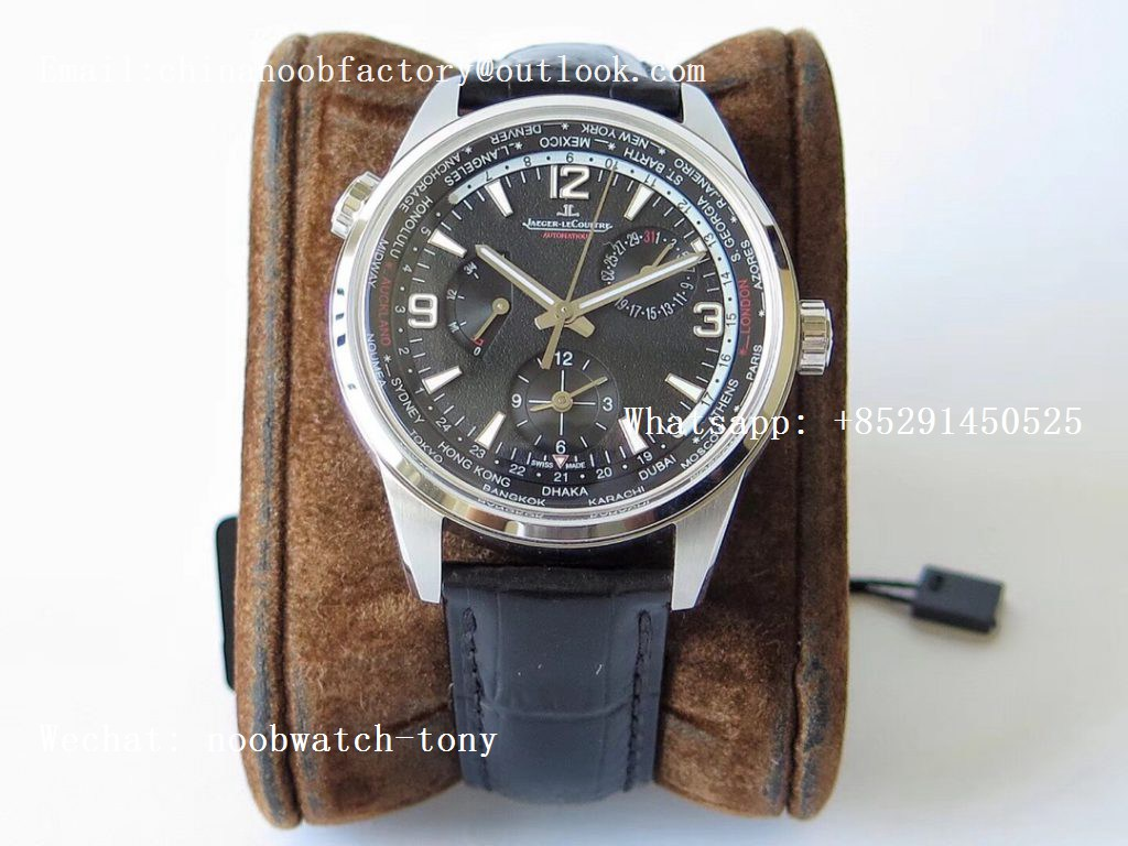 Replica Jaeger Lecoultre JLC Polaris Geographic TWA SS Black Textured Dial on Black Leather Strap A936