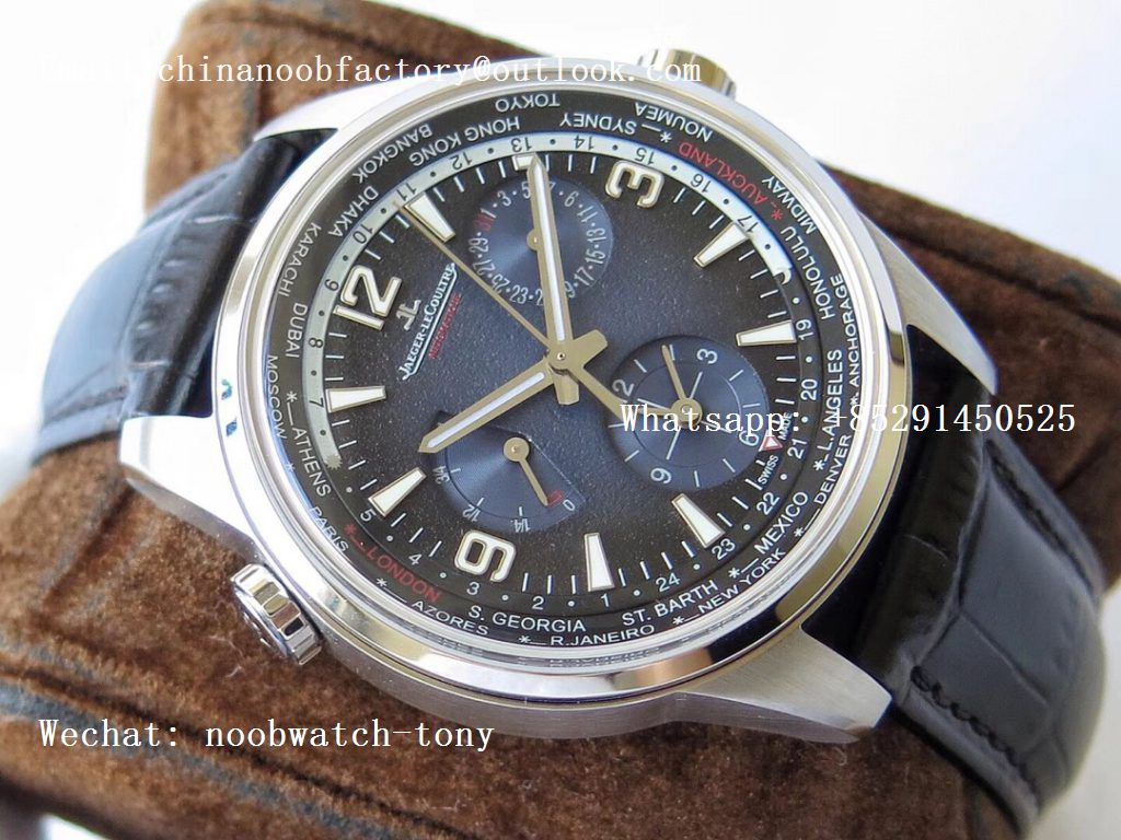 Replica Jaeger Lecoultre JLC Polaris Geographic TWA SS Blue Textured Dial on Black Leather Strap A936