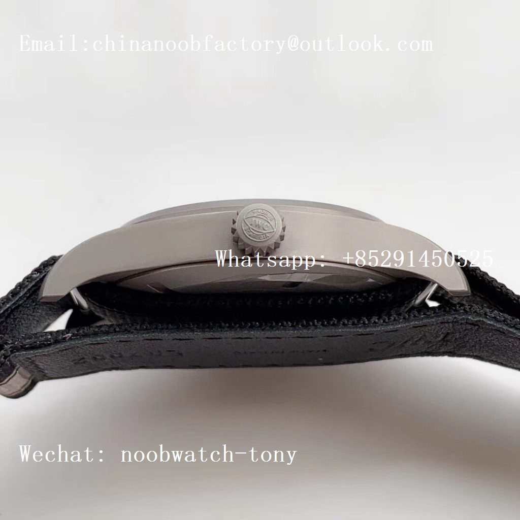 Replica IWC Mark XVIII IW327006 Titanium Grand M+F 1:1 Best Edition Black Dial on Black/Gray Nylon Strap A35111 (Free Leather Strap)