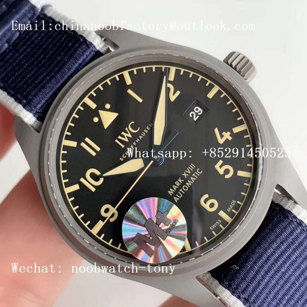 Replica IWC Mark XVIII IW327006 Titanium Grand M+F 1:1 Best Edition Black Dial on Blue Nylon Strap A35111 (Free Leather Strap)