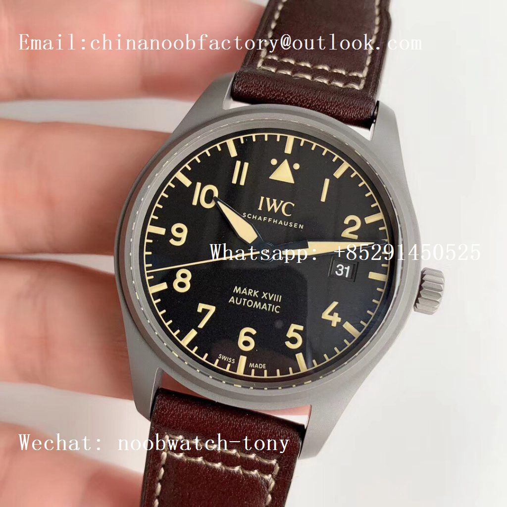 Replica IWC Mark XVIII IW327006 Titanium M+F 1:1 Best Edition Black Dial on Brown Leather Strap A35111 (Free Nylon Strap)