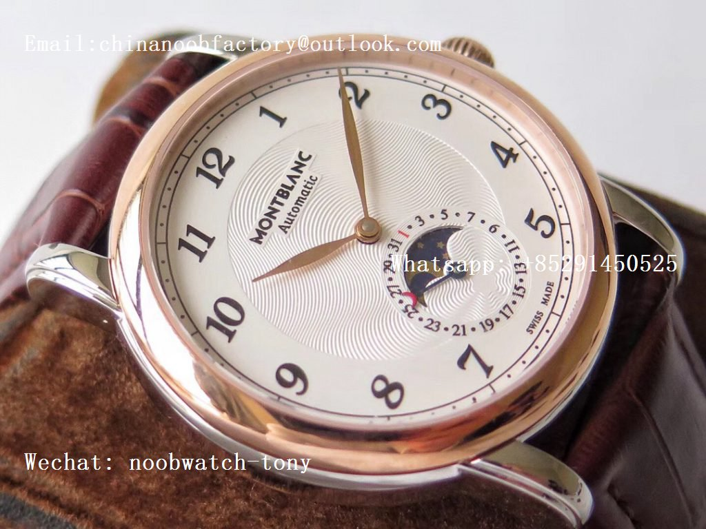 Replica Montblanc Star Legacy Moonphase 42 mm Rose Gold White Dial Gold Markers on Black Leather Strap MIYOTA 9015