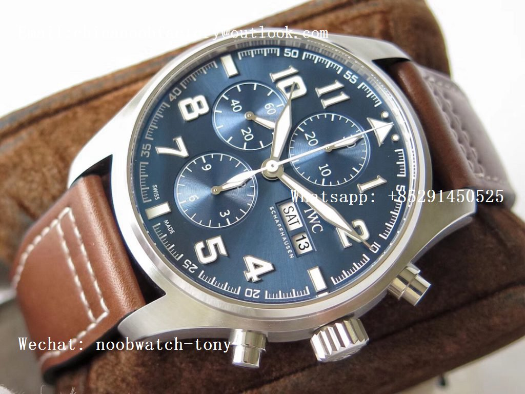 Replica IWC Pilot Chrono 377721 Le Petit Prince Blue Dial SS ZF 1:1 Best Edition on Brown Leather Strap A7750