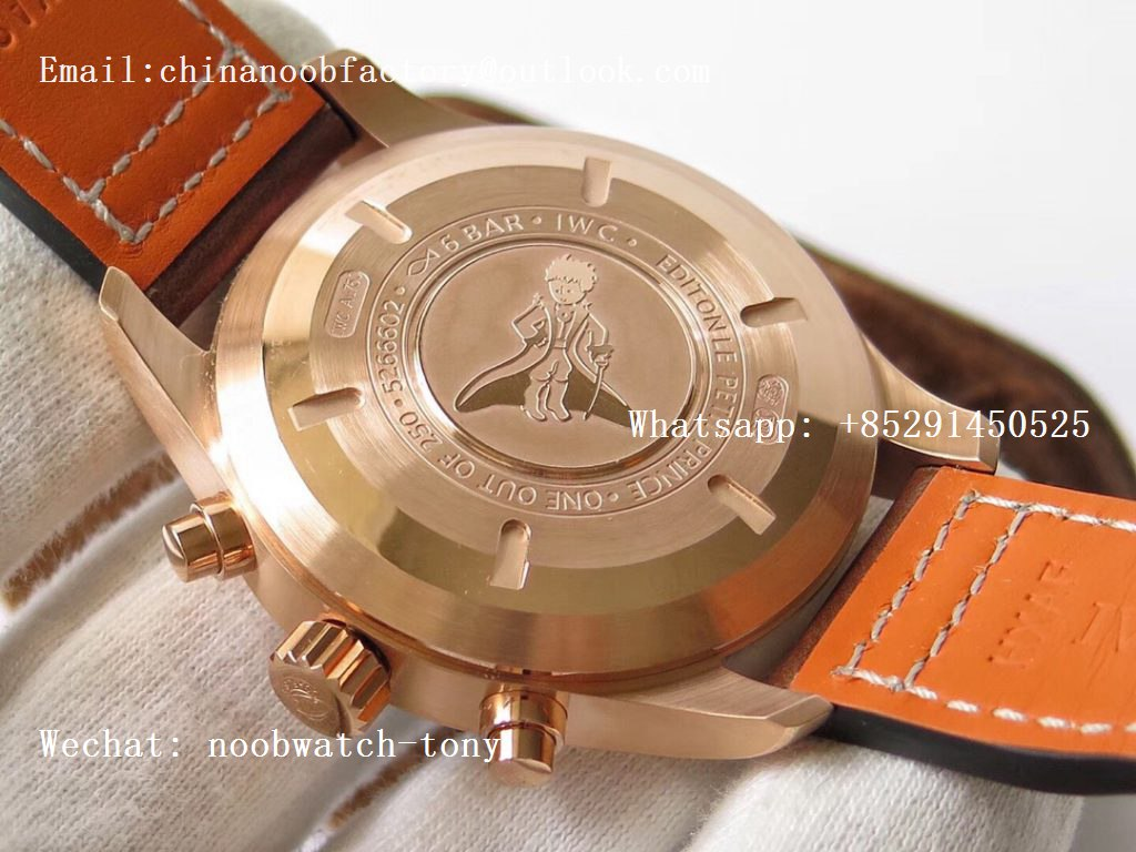 Replica IWC Pilot Chrono 377721 Le Petit Prince Rose Gold Blue Dial ZF 1:1 Best Edition on Brown Leather Strap A7750