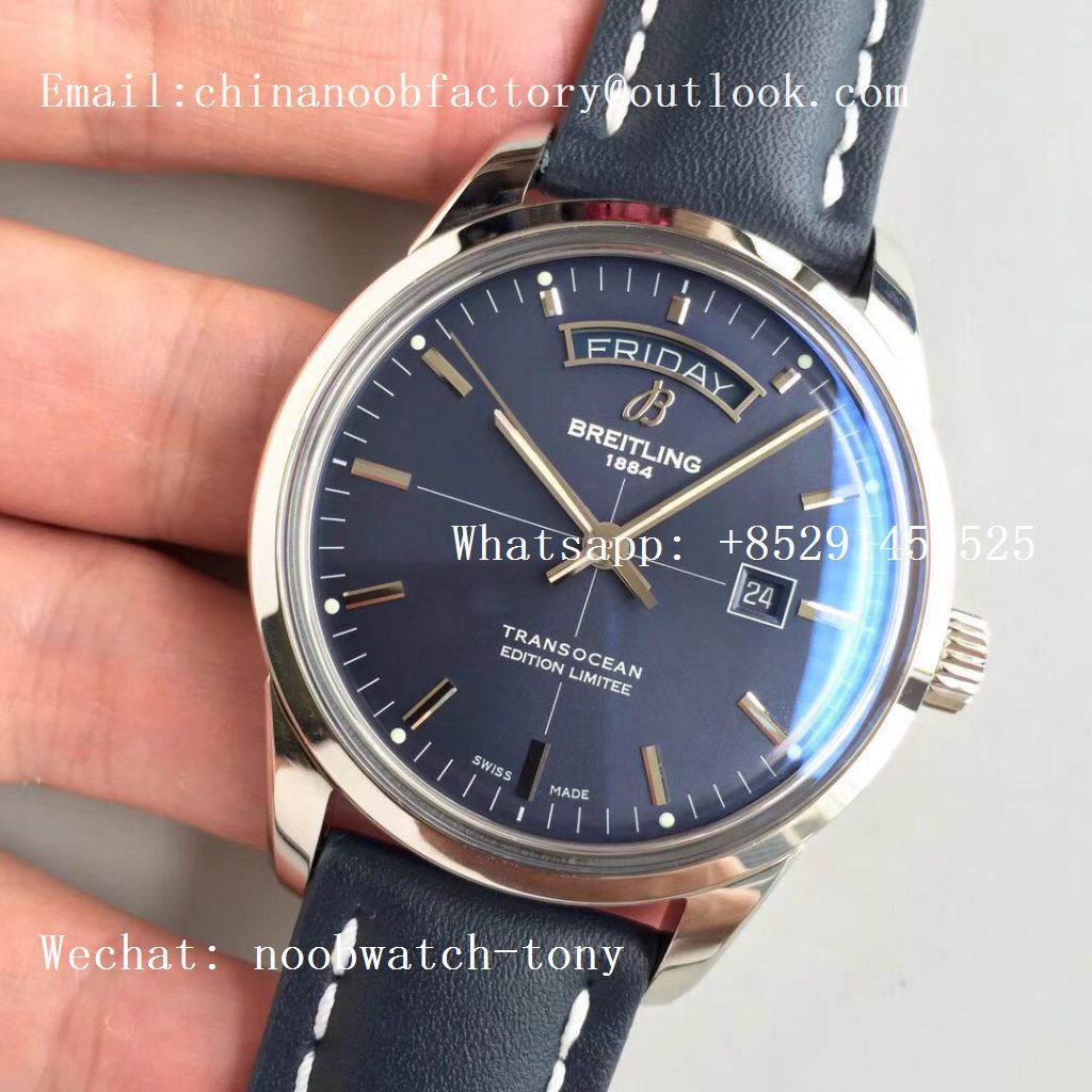 Replica Breitling Transocean Day & Date Automatic SS Blue Dial on Blue Leather Strap A2836