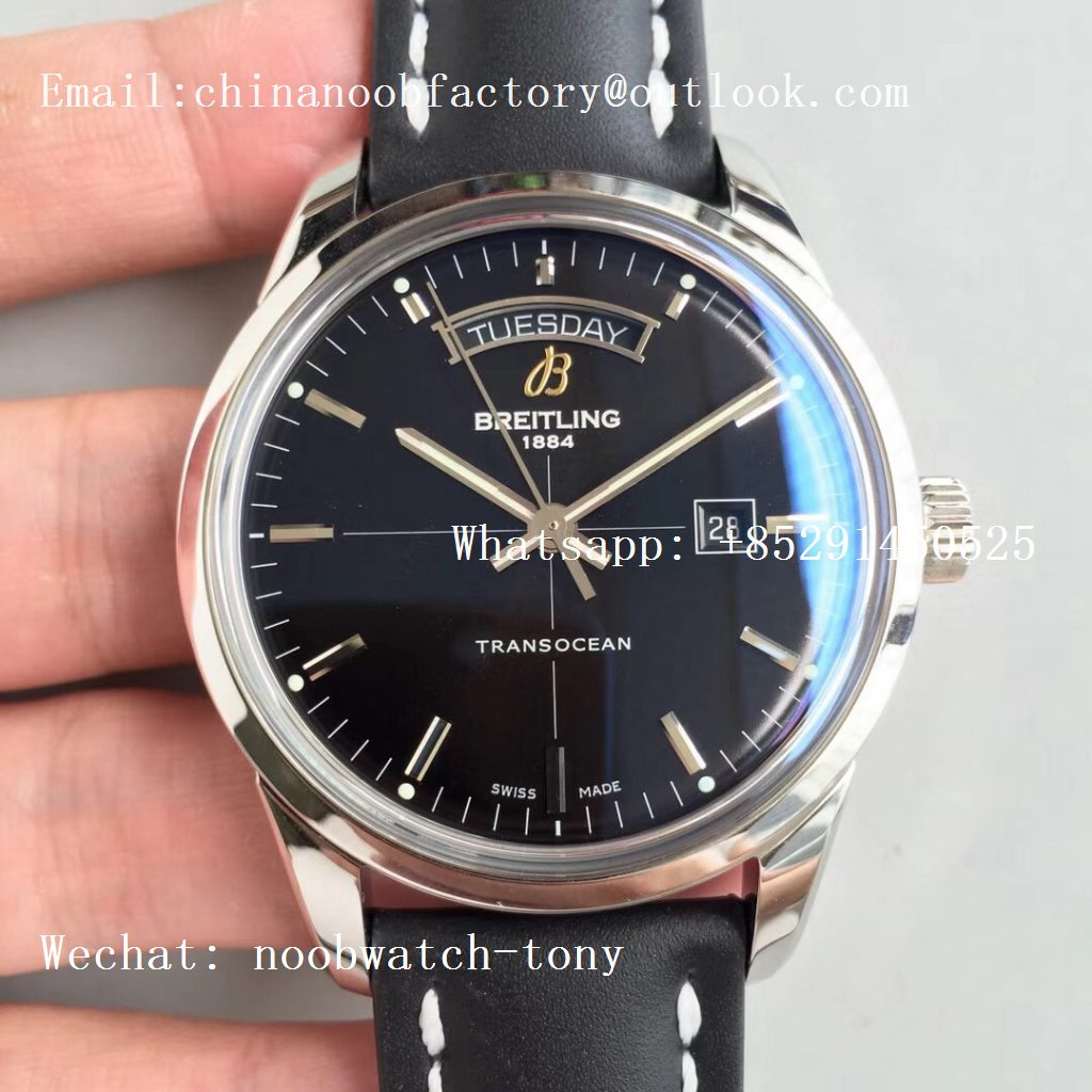 Replica Breitling Transocean Day & Date Automatic SS Black Dial on Black Leather Strap A2836