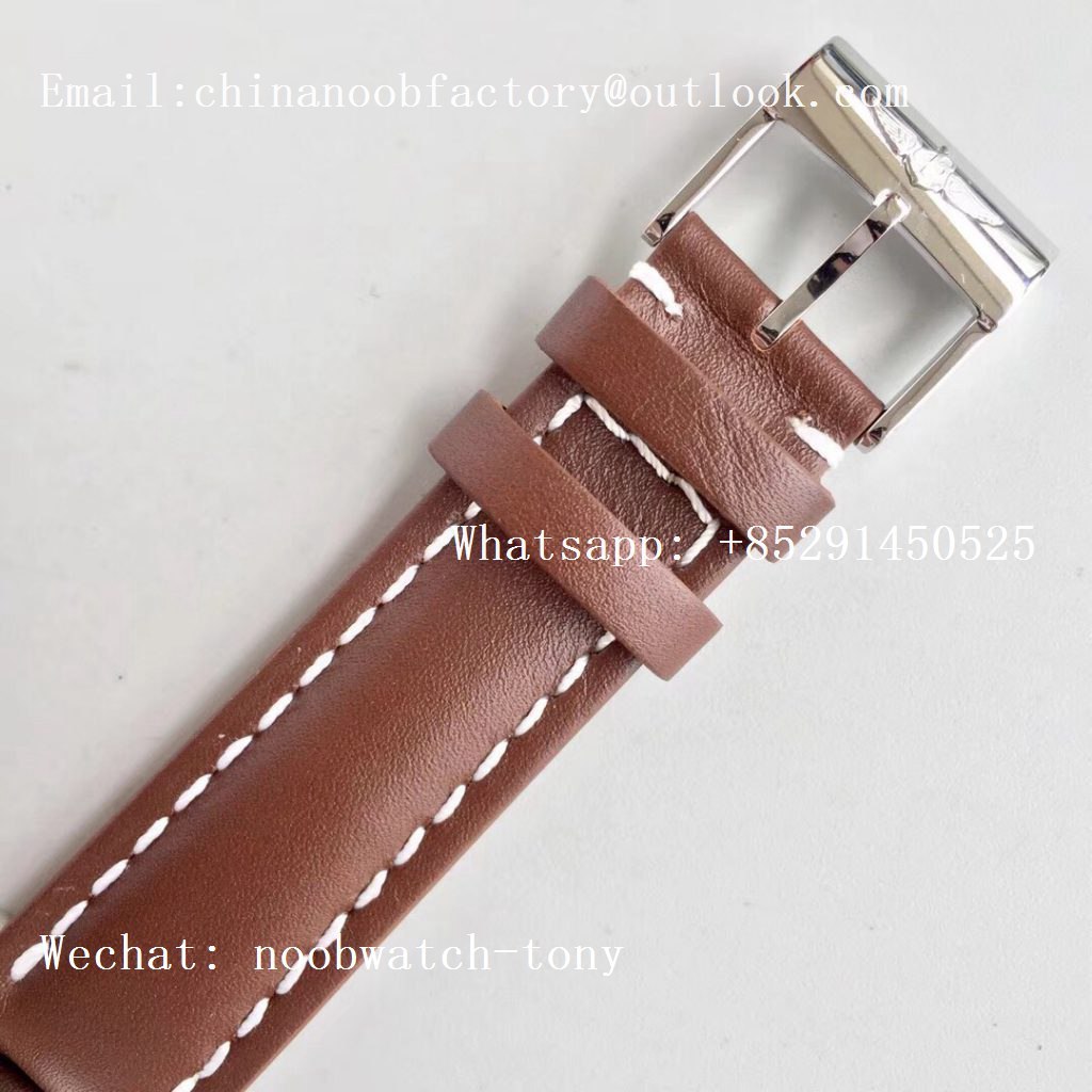 Replica Breitling Transocean Day & Date Automatic SS White Dial on Brown Leather Strap A2836