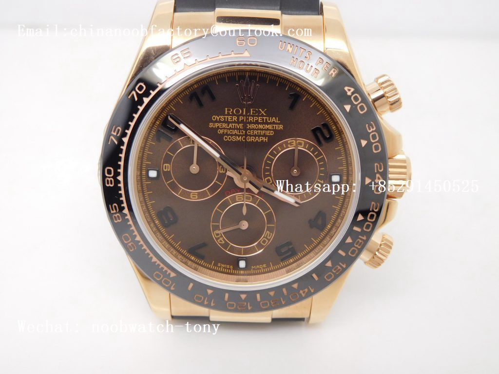 Replica Rolex Daytona Rose Gold Brown Dial BP Factory A7750 on Rubber Strap