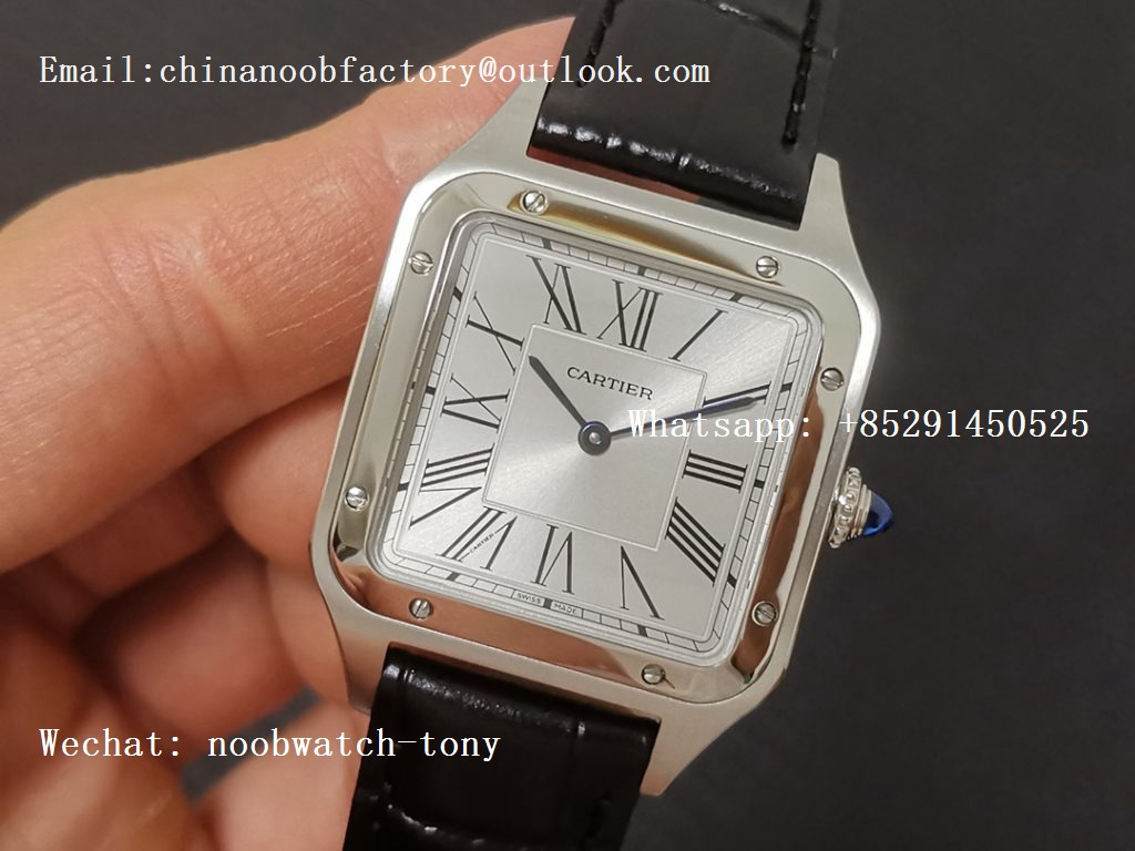 Replica Cartier Santos 27.5mm SS XF 1:1 Best Edition Silver Dial on Black Leather Strap Ronda Quartz