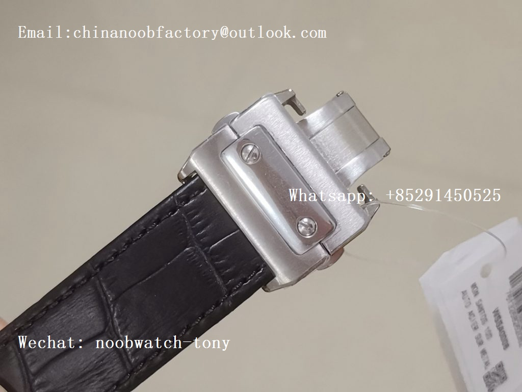 Replica Cartier Santos 100 38mm SS V6F 1:1 Best Edition White Dial on Black Leather Strap A2824