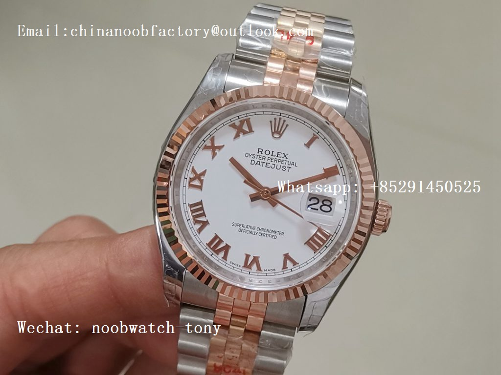 Replica Rolex DateJust 36mm 2tone 18kt Rose Gold Wrapped 116233 GMF White Dial Roman Markers A2836