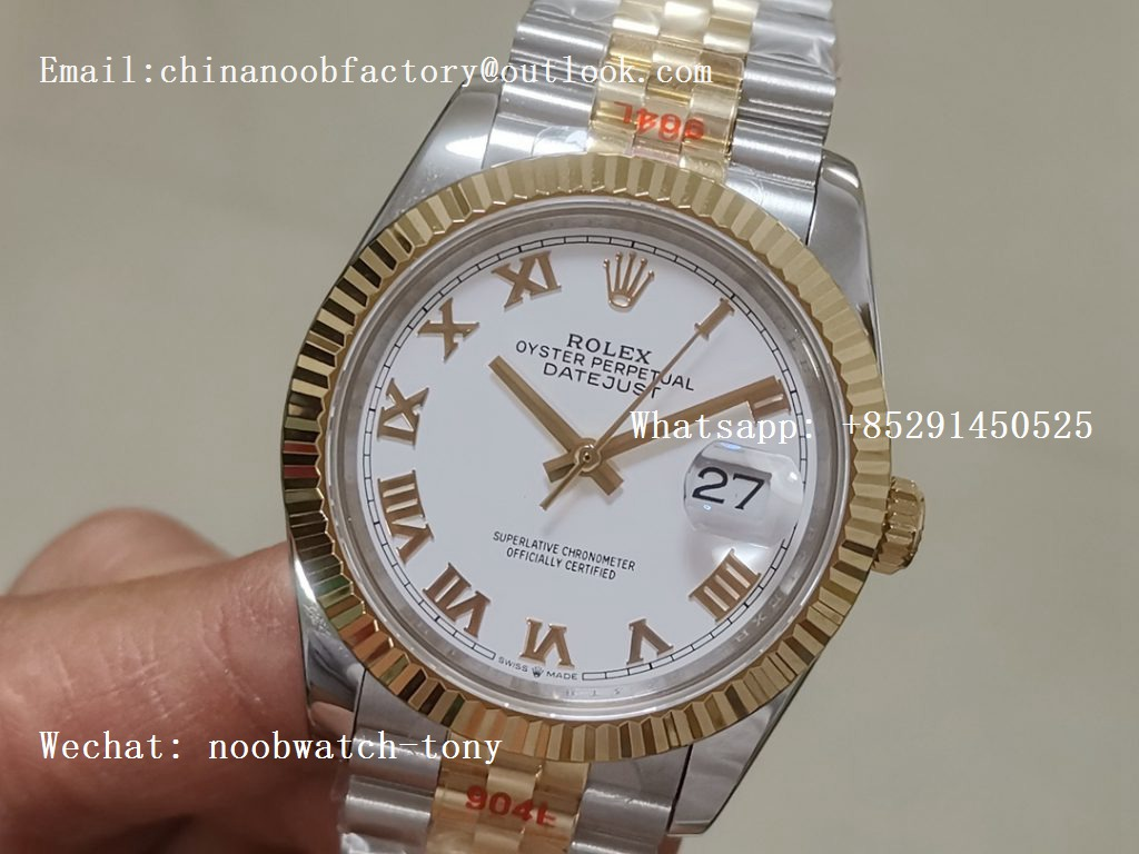 Replica Rolex DateJust 36mm 2tone 18kt Yellow Gold Wrapped 116233 GMF White Dial Roman Markers A2836