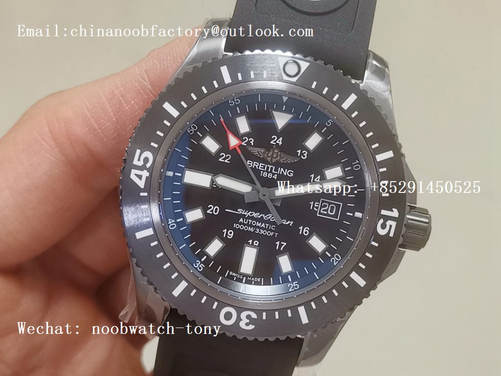 Replica Breitling Superocean 44mm Special PVD GF 1:1 Best Edition Black Dial on Black Rubber Strap A2824