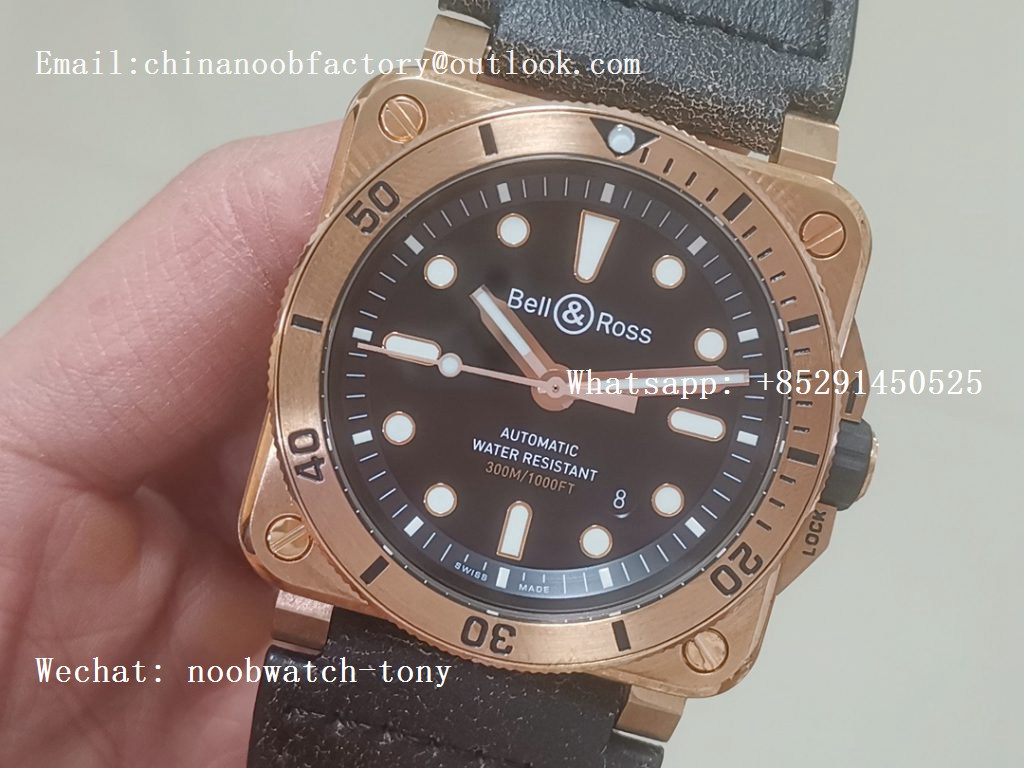Replica Bell Ross BR03-92 Diver Real Bronze Noob 1:1 Best Edition Black Dial on Rubber Strap MIYOTA 9015 (Free Leather)