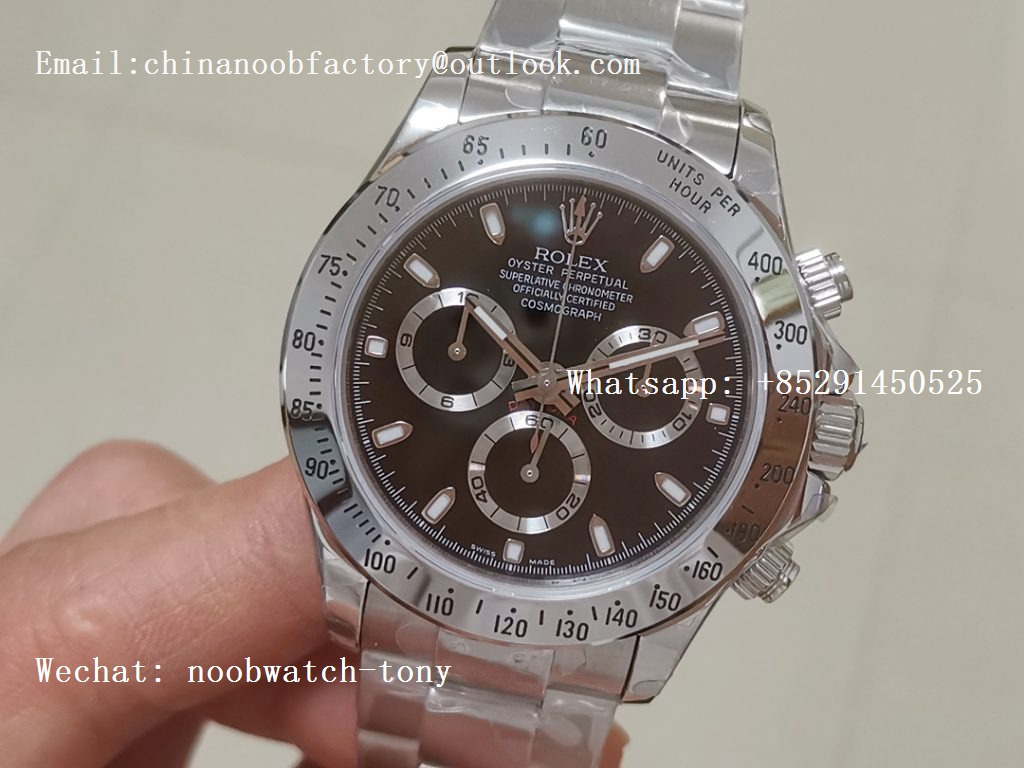 Replica Rolex Daytona Daytona 116520 BP Factory Black Dial on SS Bracelet A7750