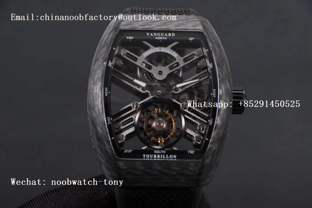 Replica Frank Muller Vanguard Automatic Carbon Fake Tourbillon Black Skeleton Dial on Black Gummy Strap MIYOTA 9015