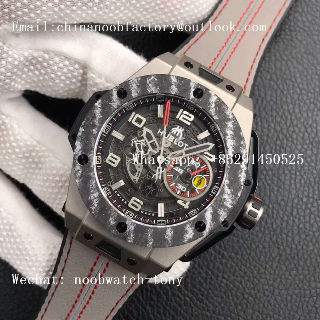 Replica Hublot Big Bang Ferrari F4 Titanium Carbon Bezel V6F Best Edition Gray Gummy Strap V6F 1:1 Best HUB1288