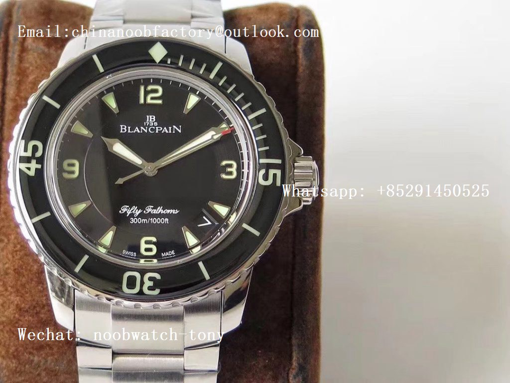 Replica Blancpain Fifty Fathoms SS Black ZF 1:1 Best Edition Black Dial on SS Bracelet A2836