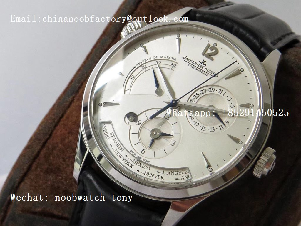 Replica Jaeger Lecoultre JLC Master Geographic Real Power Reserve SS ZF 1:1 Best Edition Silver Dial on Black Leather Strap A939