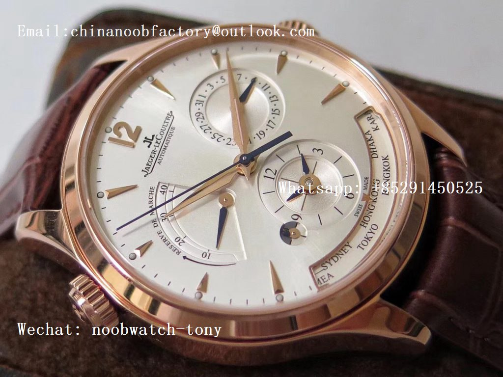 Replica Jaeger Lecoultre JLC Master Geographic Real Power Reserve Rose Gold ZF 1:1 Best Edition Silver Dial on Brown Leather Strap A939