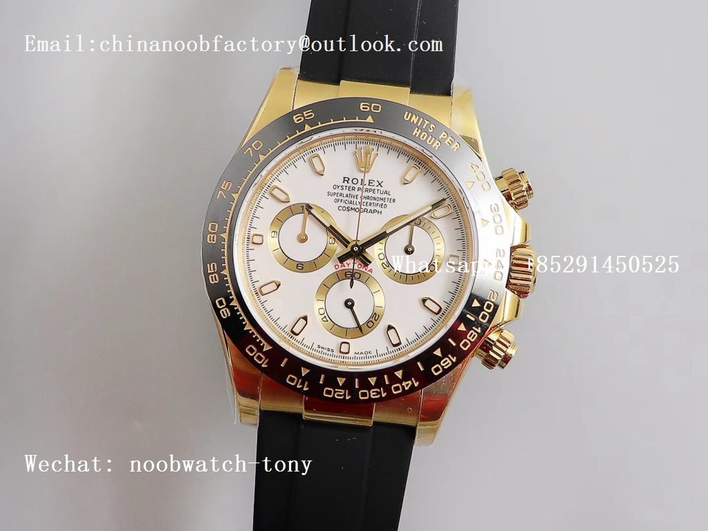 Replica Rolex Daytona 116518 Noob 1:1 Best Edition Yellow Gold Plated 904L White Dial on Black Rubber Strap SA4130 V3 (Free Extra Strap)