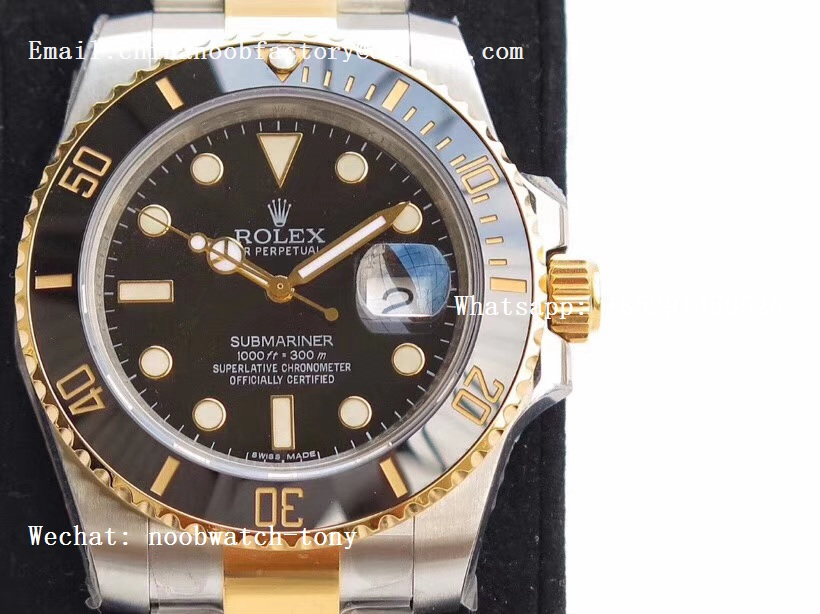 Replica Rolex Submariner 116613 LN 2tone VRF 1:1 Best Edition 18kt Yellow Gold Wrapped Black Dial MAX Version