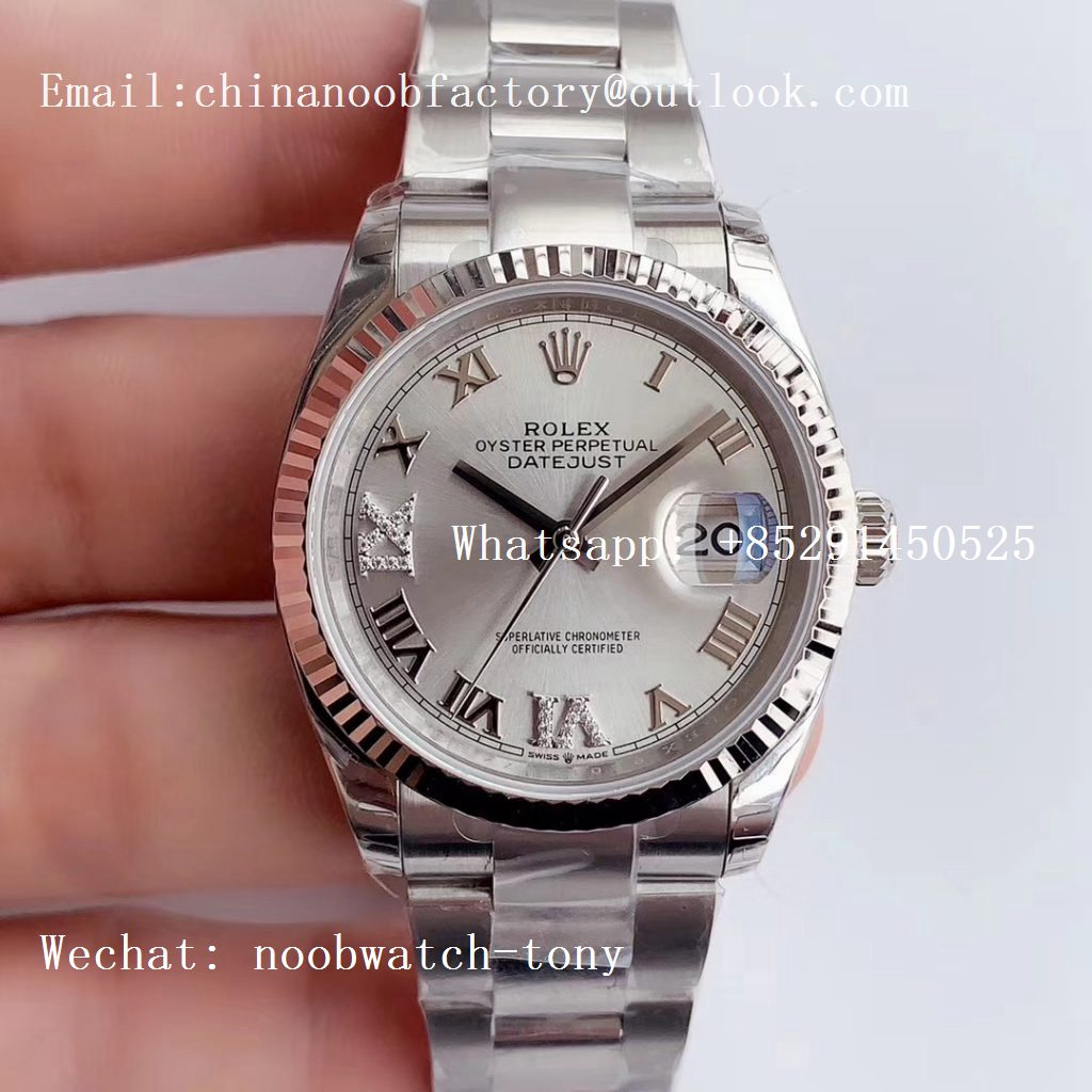 Replica Rolex DateJust 36 SS 126234 EWF 1:1 Best Edition Silver Dial Roman Markers on Oyster Bracelet A3235