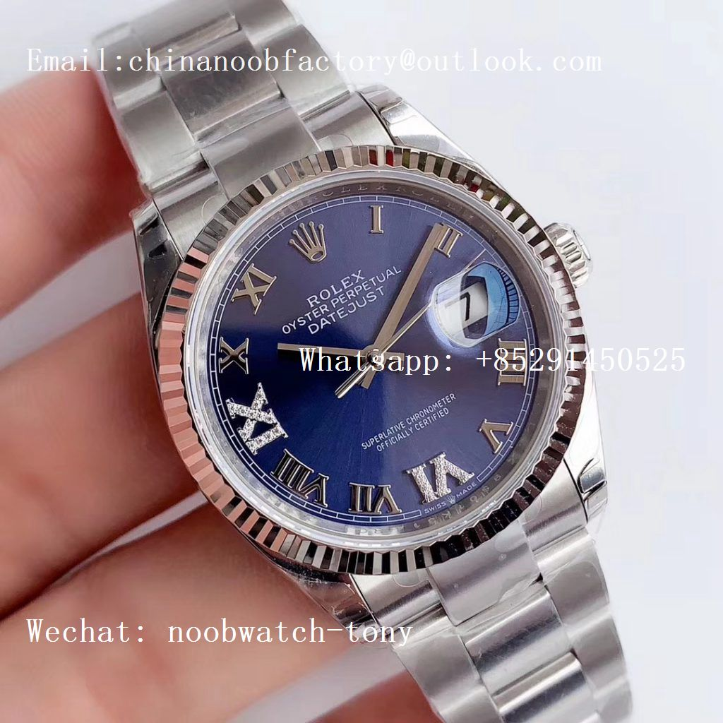 Replica Rolex DateJust 36 SS 126234 EWF 1:1 Best Edition Blue Dial Roman Markers on Oyster Bracelet A3235