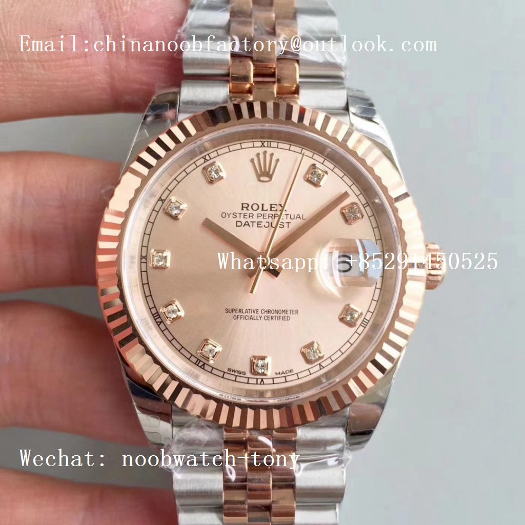Replica Rolex DateJust 41mm 126333 904L 2tone Rose Gold/Steel GMF 1:1 Best Edition Pink Diamond Dial on Julibee Bracelet A2836
