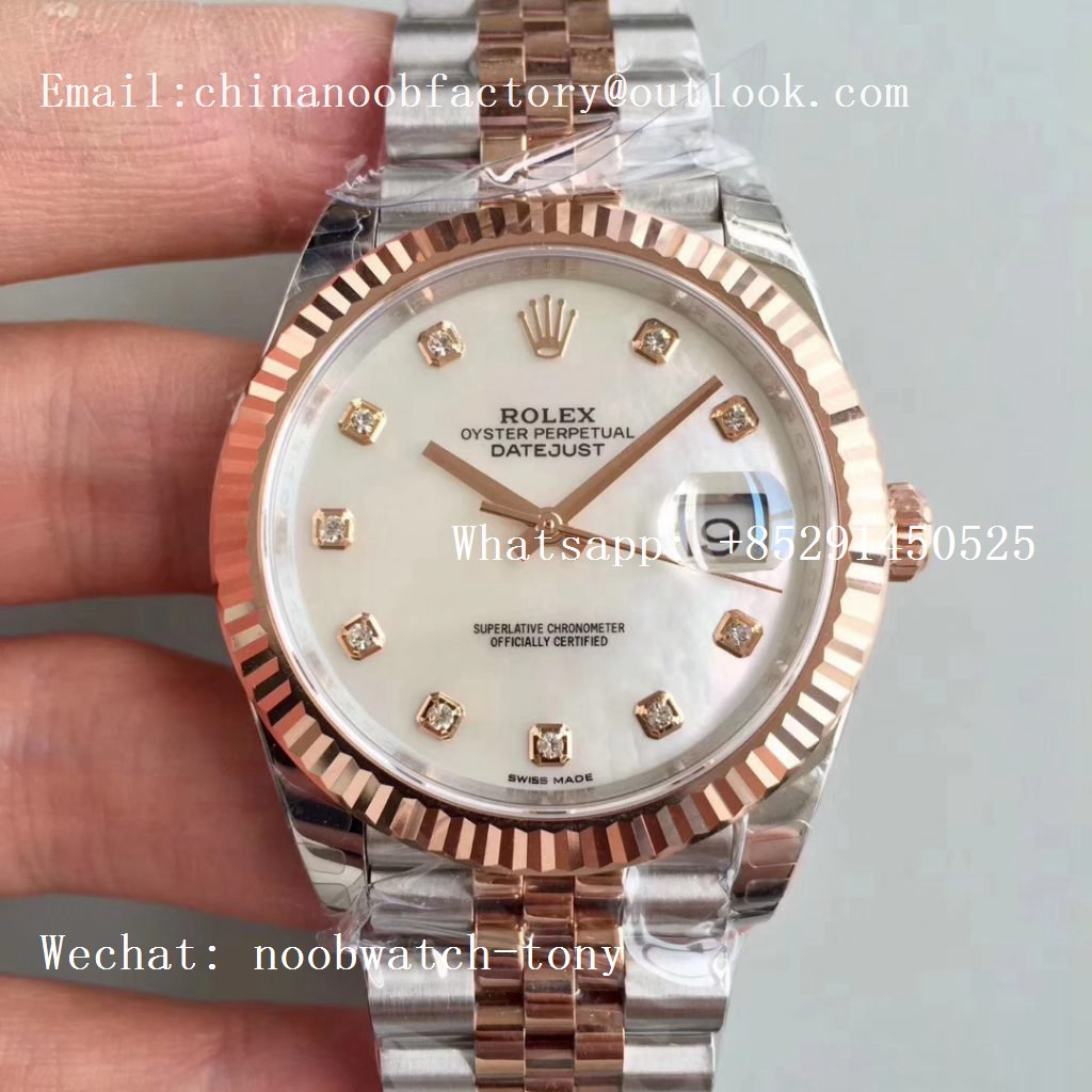 Replica Rolex DateJust 41mm 126333 904L 2tone Rose Gold/Steel GMF 1:1 Best Edition White MOP Dial on Julibee Bracelet A2836