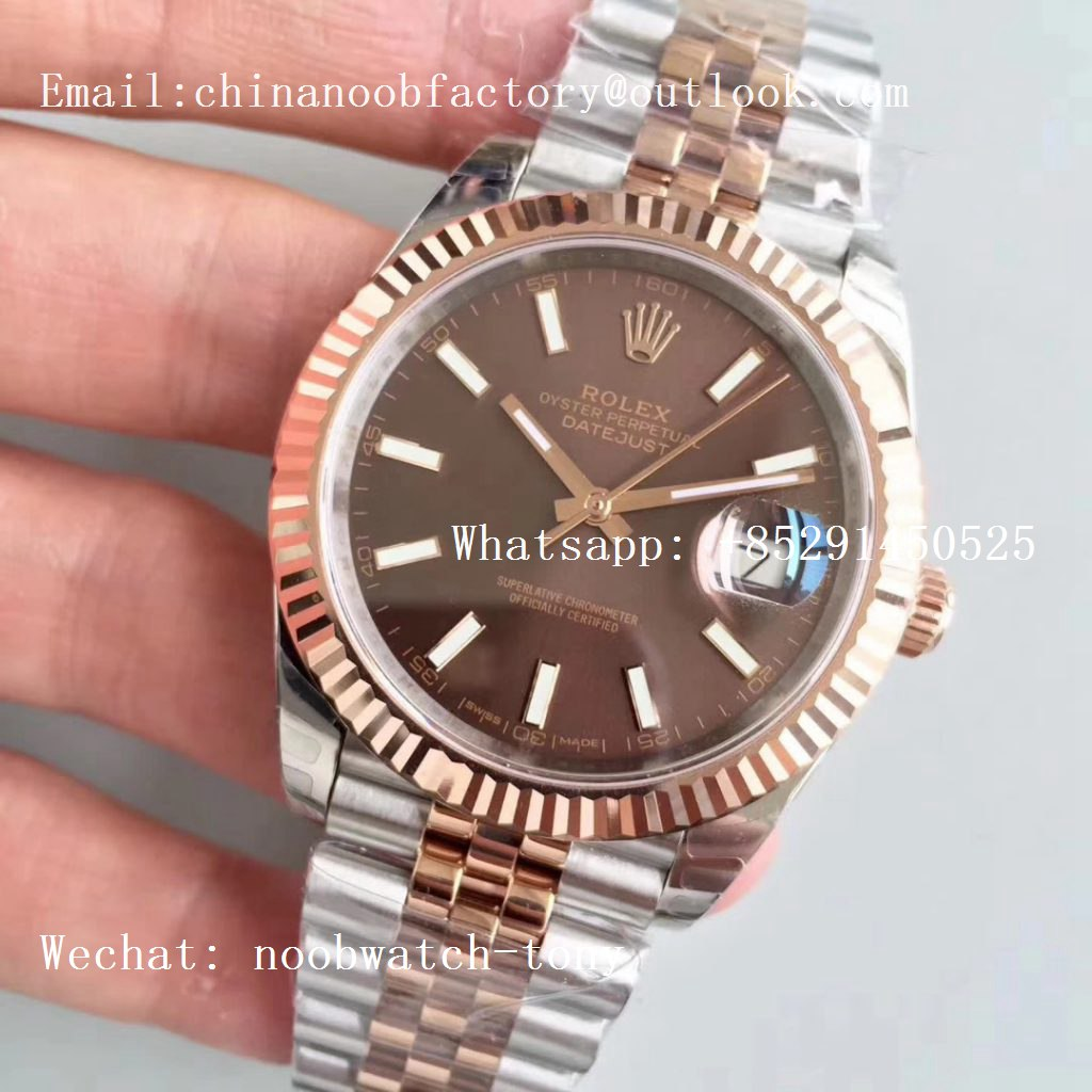 Replica Rolex DateJust 41mm 126333 904L 2tone Rose Gold/Steel GMF 1:1 Best Edition Brown Dial on Julibee Bracelet A2836