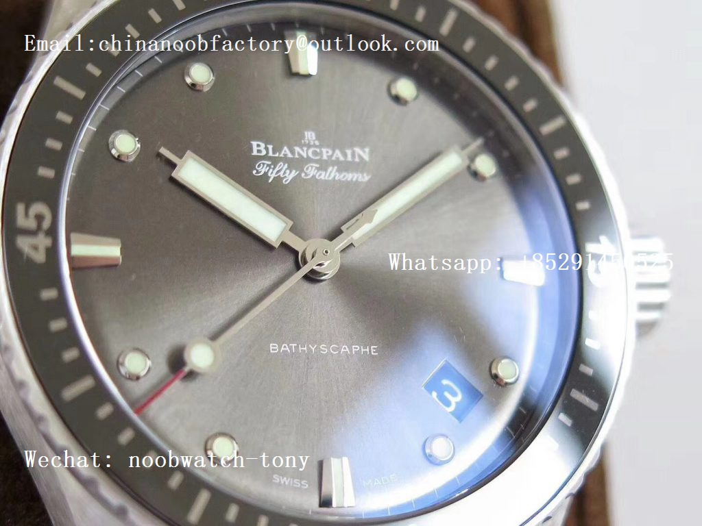 Replica Blancpain Fifty Fathoms Bathyscaphe 43mm SS ZF 1:1 Best Edition Gray Dial on Sail-canvas Strap A1315