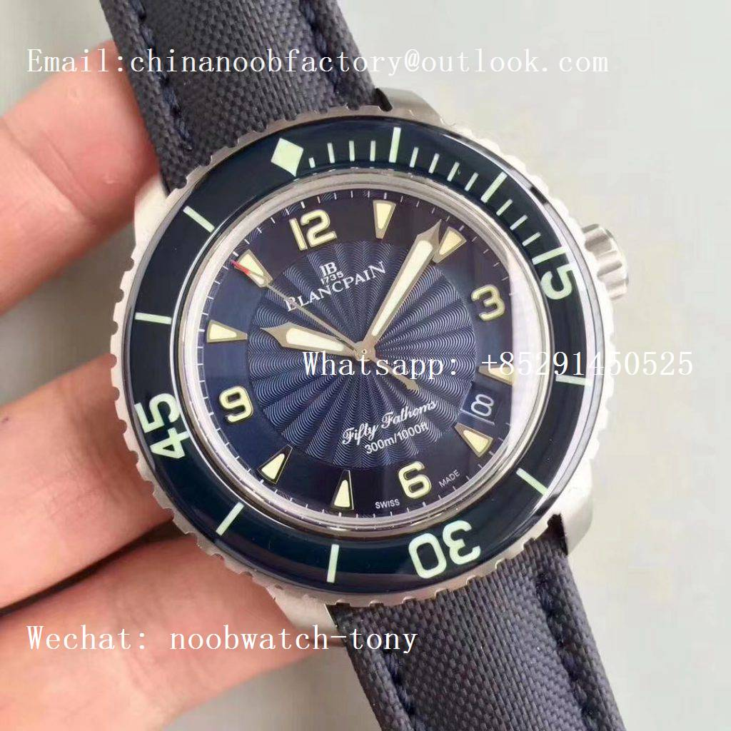 Replica Blancpain Fifty Fathoms SS Blue ZF 1:1 Limited Edition Blue Dial A2836 (Free Extra Strap)