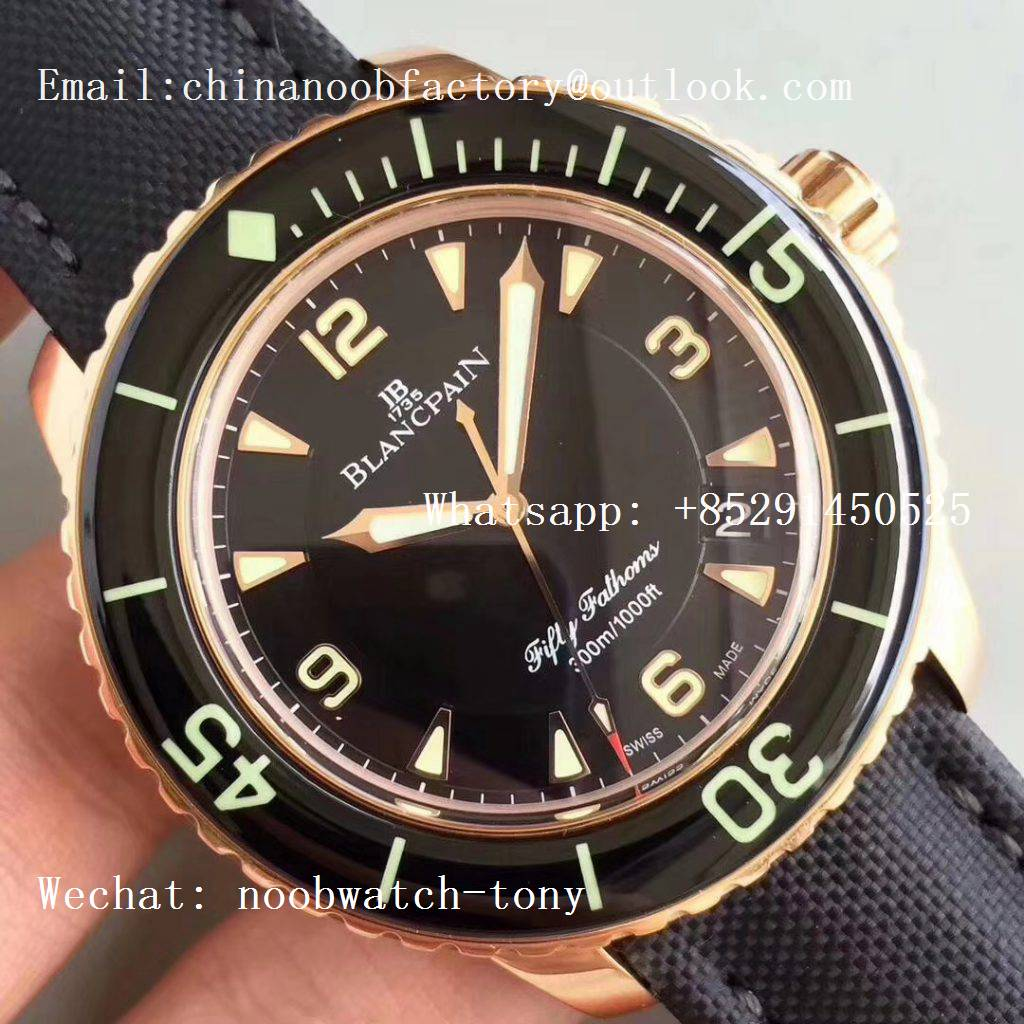 Replica Blancpain Fifty Fathoms Rose Gold Black ZF 1:1 Best Edition Black Dial A2836 (Free Extra Strap)