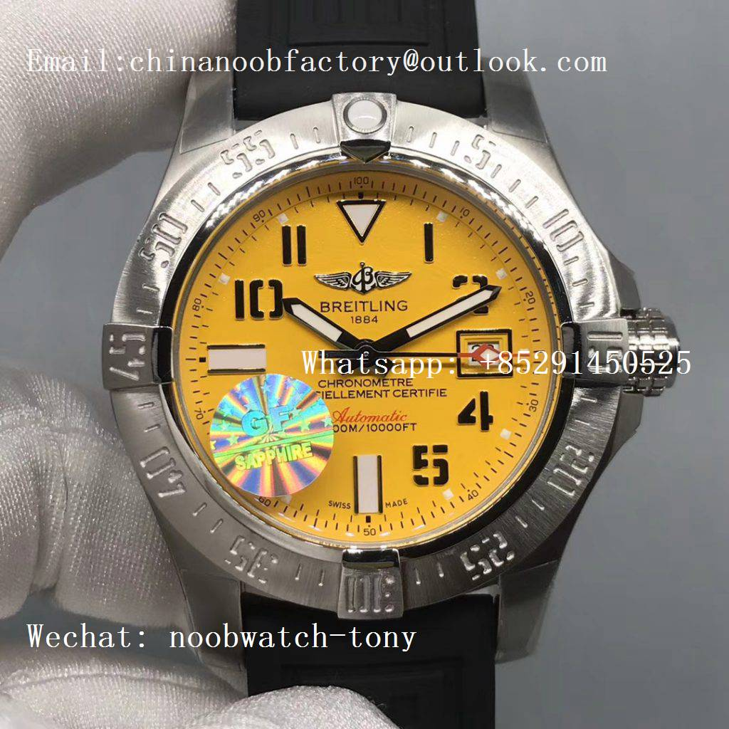 Replica Breitling Avenger II Seawolf SS GF 1:1 Best Edition Yellow Dial on Black Rubber Strap A2824 V2