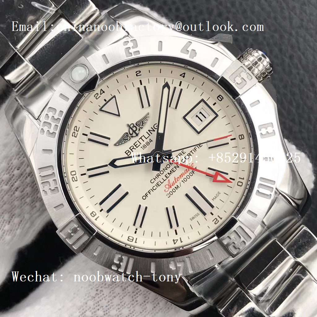 Replica Breitling Avenger GMT GF 1:1 Best Edition White Dial Stick Markers A2836 V2