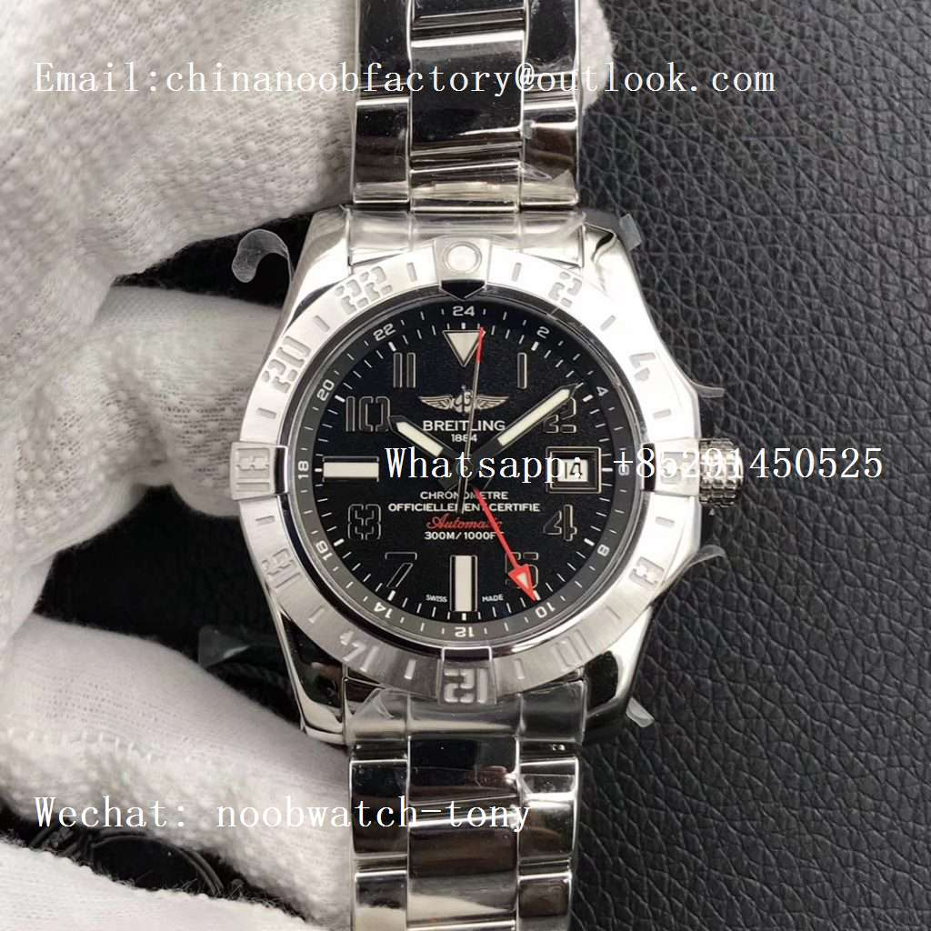 Replica Breitling Avenger GMT SS GF 1:1 Best Edition Black Dial Roman Markers A2836 V2